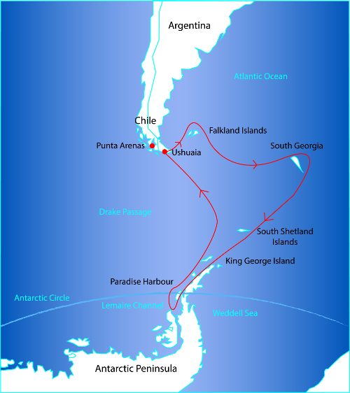 Route Map for the Antarctica Circle via Falklands and South Georgia Cruise