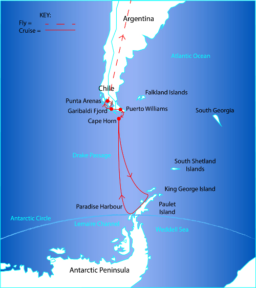 Route Map for the Antarctica via Chilean Fjords Cruise