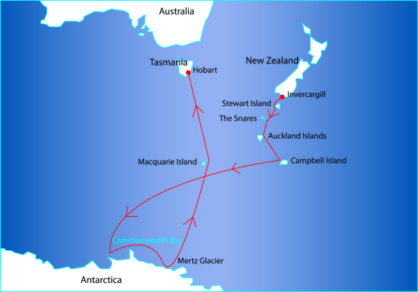 Route Map for the East Antarctica Cruise