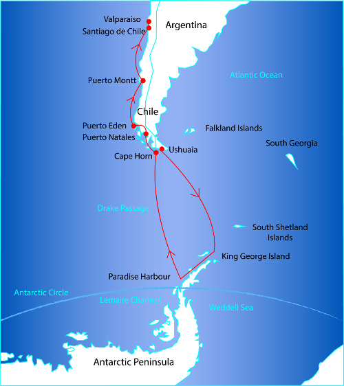 Route Map for the Antarctic Peninsula and Coastal Patagonia Cruise